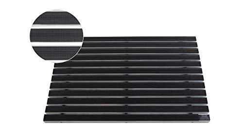 EMCO Eingangsmatte DIPLOMAT 22mm Gummi schwarz Fußmatte Schmutzfangmatte Fußabtreter Antirutschmatte, Größe:740 x 490 mm