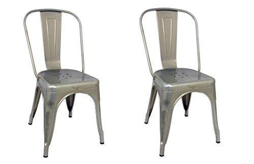 La sedia spagnola tólix Pack di sedie schienale, Acciaio Inox, Grigio, 53.50x 52x 73cm, 2pezzi