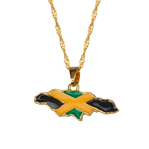 Zonfer Jamaica Map National Flag Pendant Necklaces Jewelry Jamaican Gifts Gold Color