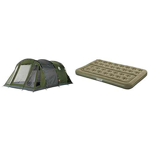 Coleman Galileo 5 Tent Tunnel & Comfort Double Compact Flocked Surface Inflatable Camp Air Bed - Green, 189 x 120 x 17 cm