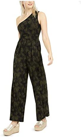 Free People Women s Maya One Shoulder Jumpsuit in Green Combo Small product image