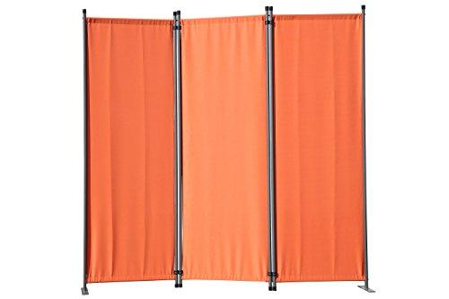 Angel Living Paravent 3tlg Sichtschutz,Faltbildschirm Raumteiler Sichtschutz aus Stahl und Polyester (Orange)