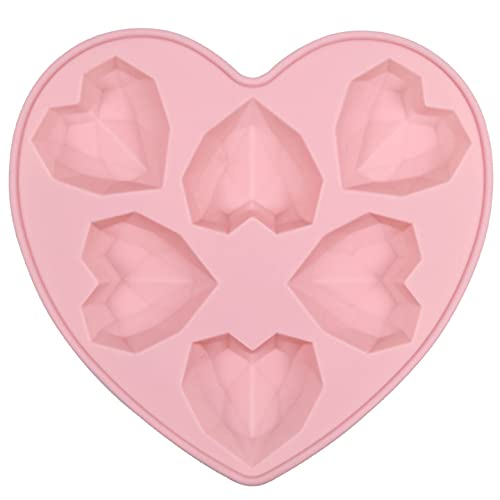 Chstarina Moule en Silicone en Forme de Coeur Chocolat Silicone Moule Coeur de Diamantés Moules pour Bonbons Chocolat Muffins Gâteau Gelée Pâtisserie Glaçons