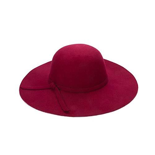 WAZHX Gorra Cúpula De ala Ancha Sombreros De Lana Floppy Sombrero Cloché Negro para Mujer 52-55Cm Rojo Vino