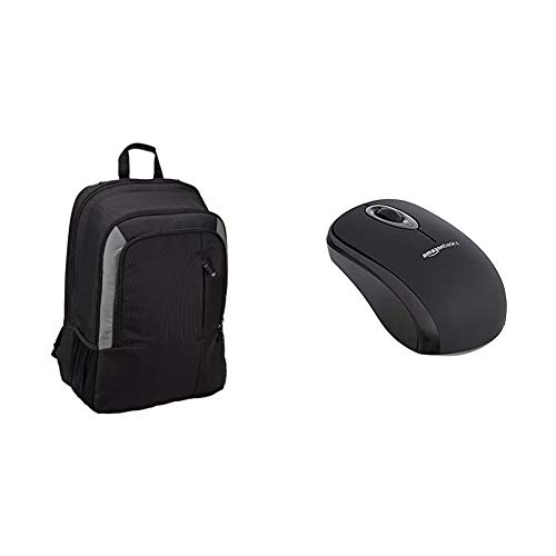 Amazon Basics 15 Inch Laptop Backpack & Wireless Computer Mouse with USB Nano Receiver – Black