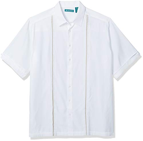 Cubavera Mens Contrast Insert Stitching Short Sleeve Woven Shirt,Bright White,Large