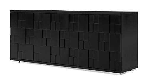 Zuri Furniture Modern Velasca Sideboard in Black Oak Veneer and Matte Black Lacquer