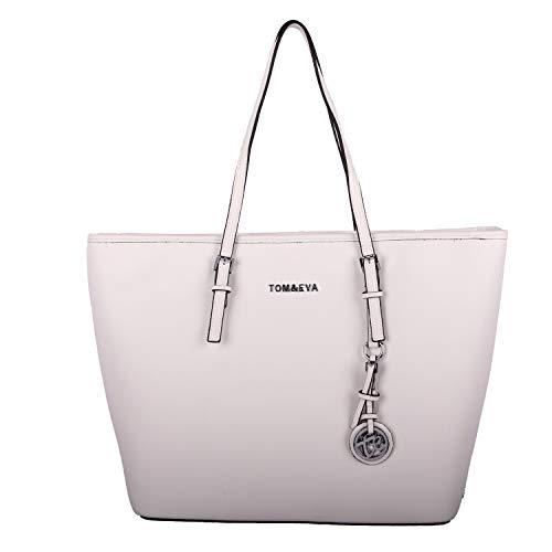 Flora Tom&Eva Handtasche Damen Shopper Elegant Tasche Groß Henkeltasche für für Büro Schule Einkauf 6228 (Weiß)