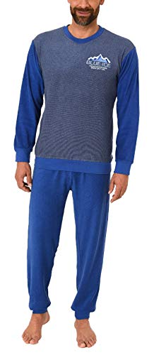 Herren Frottee Pyjama Langarm Schlafanzug mit Bündchen - 291 101 13 573, Farbe:Marine, Größe2:50