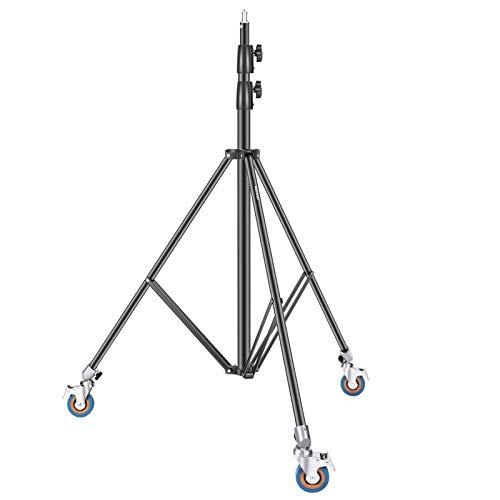 Neewer Soporte de Luz para Trabajo Pesado de 2,6m con Poleas, Soporte de Trípode de Aleación de Aluminio Ajustable Soporte de Base con Ruedas para Fotografía para Softbox Estudio Fotográfico Monolight