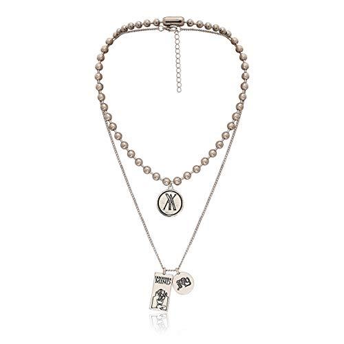 Personalisierte Runde Perle Geometrie Quadrat Halskette Weibliche Vintage Gravur Double Tag Anzug Halskette