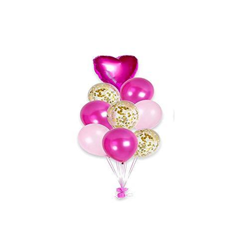 Archiba 12 Pulgadas de látex Globos Coloridos del Confeti Globos de Aire Inflable Bola Globo de Helio Fuentes de la Fiesta de cumpleaños de Boda, subió Serie Rosa