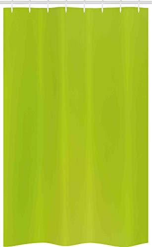 ABAKUHAUS Lime Green Schmaler Duschvorhang, Verschwommene Pastellfarben, Badezimmer Deko Set aus Stoff mit Haken, 120 x 180 cm, Apfelgrün