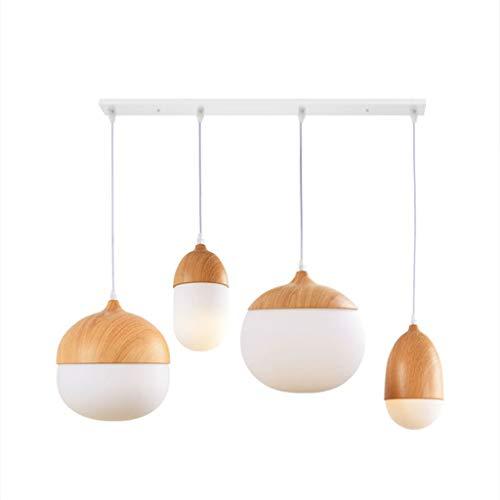 Lámpara LJF. Lámpara colgante de madera maciza, combinación larga de disco.