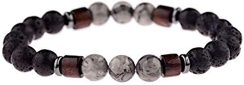 Pulsera de piedra Mujer, 7 chakra 8mm gris natural granos de cuarzo de piedra de la lava piedra elástica brazalete del encanto joyería reza yoga ilimitado energía equilibrio reiki regalo para pareja F