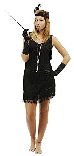P'tit Clown 90261 Volwassen kostuum, Charleston-jurk, Zwart, Maat L/XL