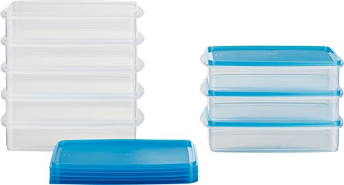 MiraHome Frischhaltedose Gefrierbehälter Stapelbehälter 1l rechteckig 23x14x5,2cm 8er Set blau Austrian Quality