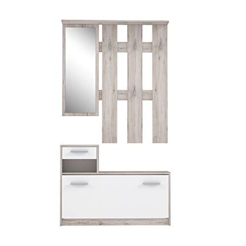 FORTE Kompaktgarderobe inklusive Spiegel, Sandeiche Dekor, 97.5 x 25 x 180 cm