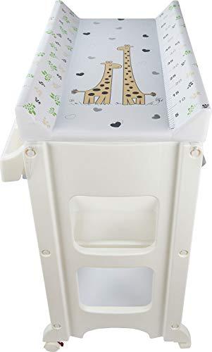 IB-STYLE Wickeltisch mit Badewanne | Wickelkommode | Rollbar |Versch. Designs | Metric Giraffe Colours