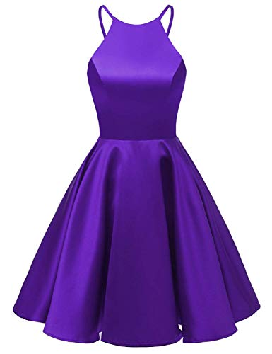 HUINI Kurz Damen Cocktailkleider Vintage Ballkleid Abendkleid Satin Neckholder Abiballkleid Promkleid Knielang Rückenfrei Violett 44