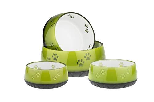 EHASO Hundenapf mit Pfötchen - Futter- und Trinknapf für kleine und große Hunde (1800ml, Lemon)
