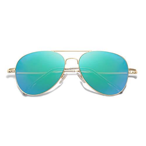 SOJOS Gafas De Sol Clásica Marco Metal Sin Aros Doble-Puente Lente Plano SJ1030 Con Marco Dorado/Lente Espejo Verde