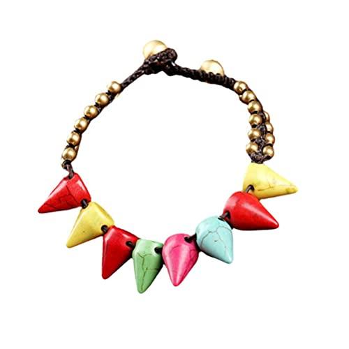 Generic Pulsera colorida para mujer, turquesa hecha a mano, con cuentas, pulsera bohemia, elegante para decoración de muñeca, ideal para niñas, accesorios de vacaciones en la playa