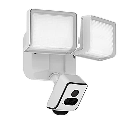 KKmoon Cámara de Seguridad con Reflector para Exteriores, Cámaras IP WiFi HD de 2MP con Luz de Inundación, Visión Nocturna, IP55 Impermeable, Detección de Movimiento PIR, Audio Bidireccional