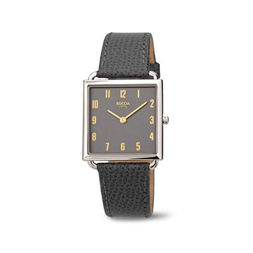 Boccia Damen Analog Quarz Uhr mit Leder Armband 3305-03