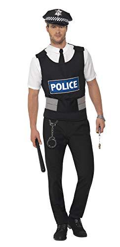 """Smiffys-38833L Kit instantáneo de policía, con Chaleco, Camisa postiza, Sombrero y Esposas, Color Negro, L-Tamaño 42""""-44"""" (Smiffy"""