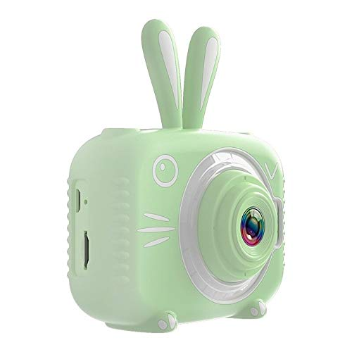 Cámara Infantil Impermeable 1080p HD Cámara de Pantalla HD Video Toy 8 Millones Pixel Niños Dibujos Animados Cámara Linda Fotografía Al Aire Libre (Bundle : 16G, Color : Green)