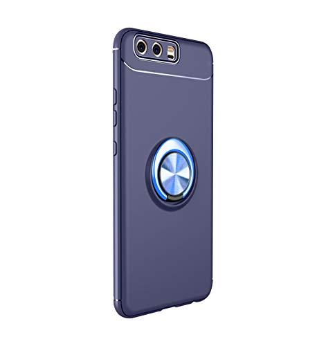 14chvily Funda compatible con Huawei P10/P10 Plus/P10 Lite Funda de silicona ultra fina TPU Gel antigolpes Bumper Case giratoria ajustable 360° Soporte coche magnético protectora Huawei P10 6