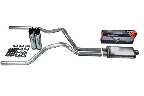 Truck Exhaust Kits - Shop Line Dual Exhaust Sytem 2.5 inch Aluminized Pipe Stainless Flow II Muffler Chrome Tips