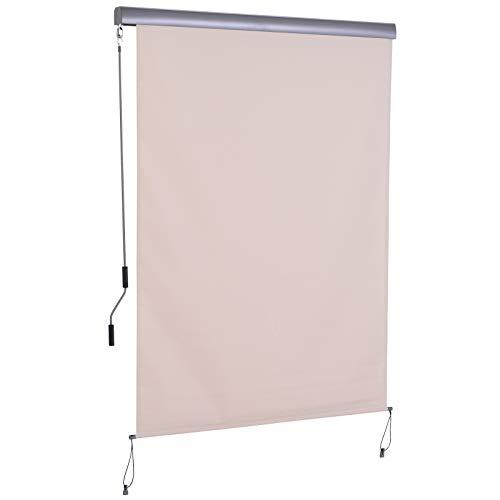 Outsunny Toldo Vertical Enrollable con Manivela Protección UV para Interior y Exterior Balcón Porche Terraza 140x250 cm Crema