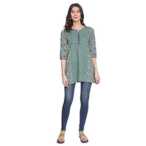 Rapsodia Women's Cotton Short Kurtis Turquoise