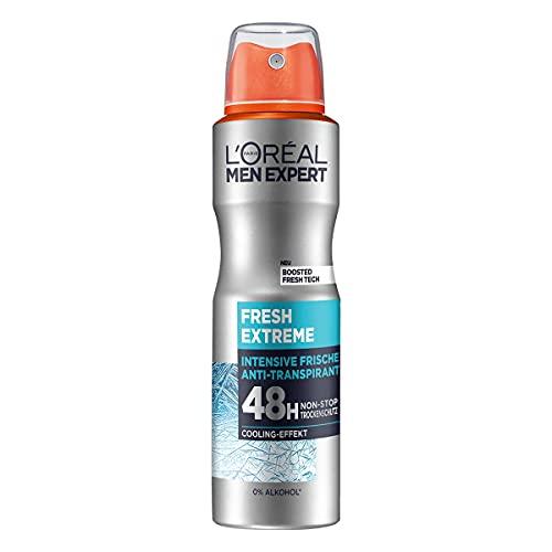 L'Oréal Men Expert Deo für Männer, Effektives Deospray mit integriertem Cooling-Effekt für bis zu 48 Stunden Frische, Fresh Extreme, 6 x 150 ml