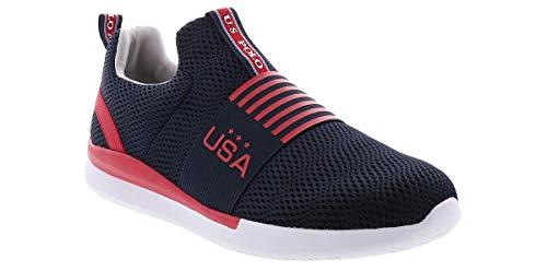 US Polo Assn Lansing Black Athletic Mesh Slip On Running Sneakers for Men, Red Navy, 12