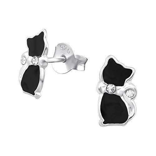 Laimons Orecchini per bambine e bambini, a forma di gatto, nero con glitter, in argento Sterling 925