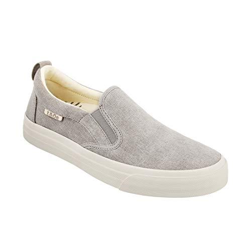 Taos Footwear Women's Rubber Soul Grey Wash Canvas Slip On 8 M US