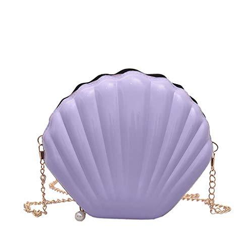 VJGOAL Damen Rucksack, Frauen Mädchen Mode Muscheltasche Volltonfarbe Kette Schulter Messenger Bag … (One size, Lila)