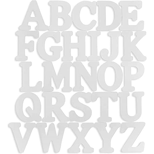 Wooden Alphabet, White DIY Letters (6 in, 26 Pack)