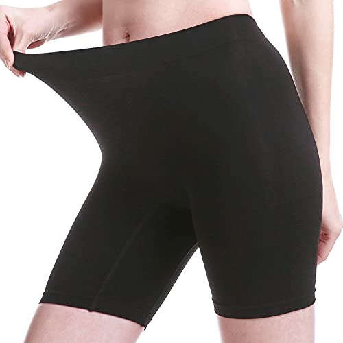 MELERIO Women's Slip Shorts, Comfortable Boyshorts Panties, Anti-chafing Spandex Shorts for Under Dress (Black, XL)
