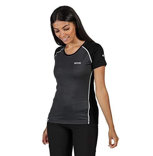 Regatta T- Shirt Technique Manches Courtes en Laine mérinos TORNELL II Respirant et sèche Rapidement Polos/Vests Femme, Seal Grey/Black, FR : XL (Taille Fabricant : 18)