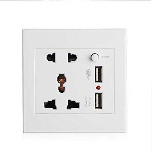 QERMULA Enchufe 2 USB + Interruptor Enchufe de Pared Cargador Adaptador de Corriente CA/CC Enchufe Panel de Salida Toma de Corriente eléctrica como se Muestra en la Imagen