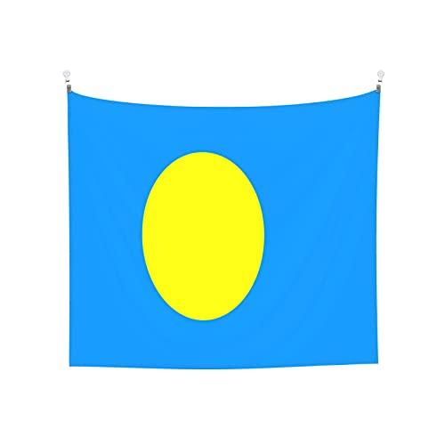 Tapisserie Flagge Palau, Wandbehang, Tarot-Boho, beliebte mystische Trippy-Yoga-Hippie-Wandteppiche für Wohnzimmer, Schlafzimmer, Wohnheim, Heimdekoration, schwarz & weiß, Stranddecke