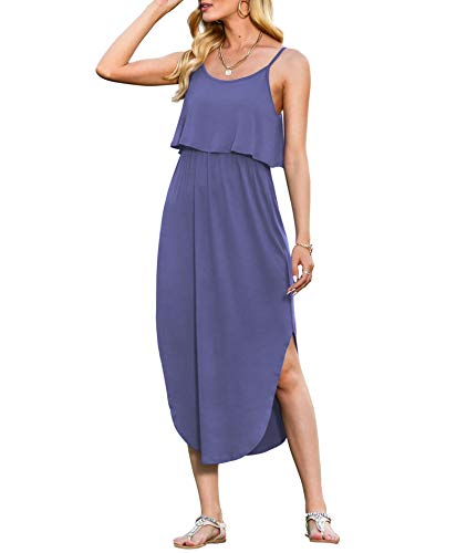 Blue midi summer dress with side splits and pockets
