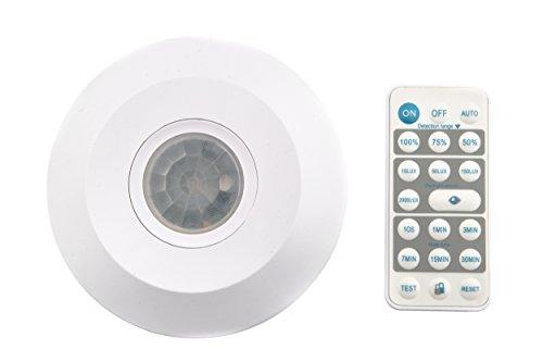 HUBER MOTION 40 Remote PIR Bewegungsmelder 360° kombinierbar mit Fernbedienung für Innenbereich, Bewegungsmelder Deckenmontage, IP20 I 230V, LED geeignet, 3-Draht-Technik