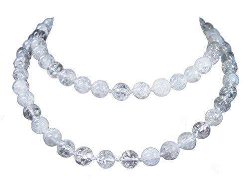 Sunglory - Collana di perle di cristallo di rocca, 85 cm