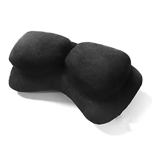 Doble Cabeza Almohada de Gamuza ergonómica Confort Almohada Coche Deportivo Cuello Almohada, Negro A