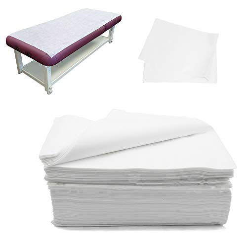 "Disposable Bed Sheets Waterproof Bed Cover for SPA Tattoo Massage Table Hotels Non Woven Fabric 31"" x 67""White 20Pcs"